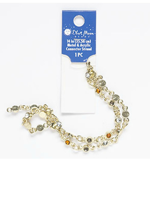 Chain component gold finish alloy orange, clear, grey 14inches