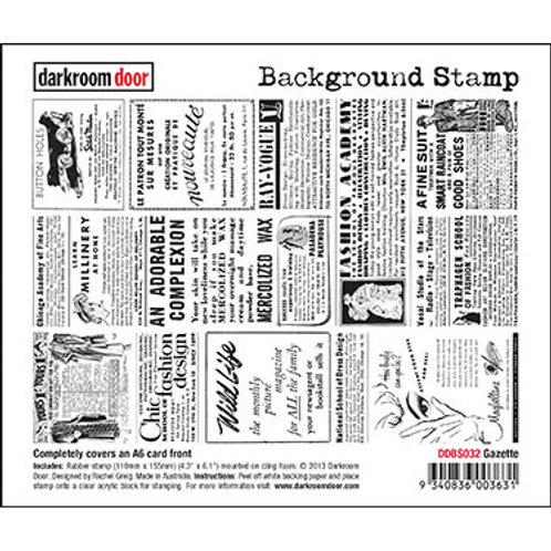"Darkroom Door - ""Gazette""   Background Rubber Stamp"