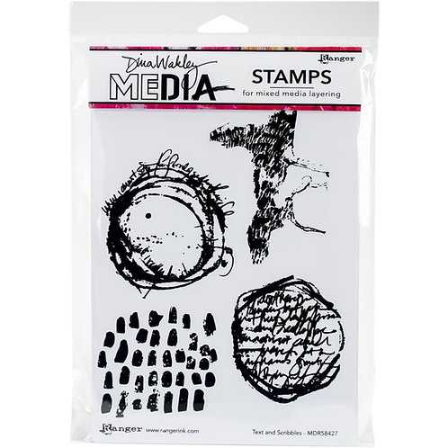 "Dina Wakley Media Cling Rubber Stamps ""Text and Scribbles"""""