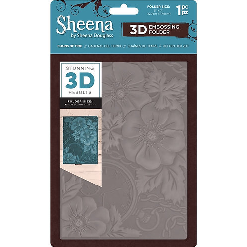 """3D Embossing Folder by Sheena Douglas """"Chains of Time"""" 5x 7"""""""
