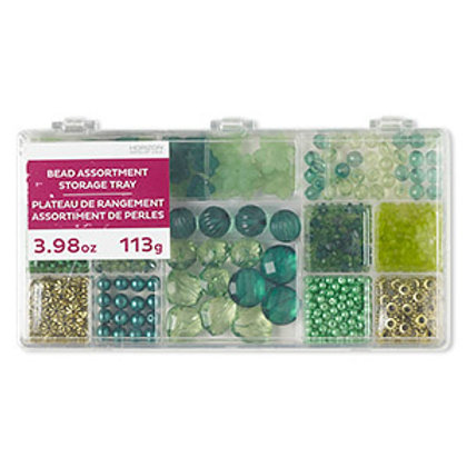 Green Bead Mix Assortment Tray 4.16 Ounce Pkg