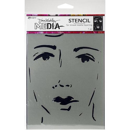 "She Sees Dina Wakley Media  Stencil  9""X6"""