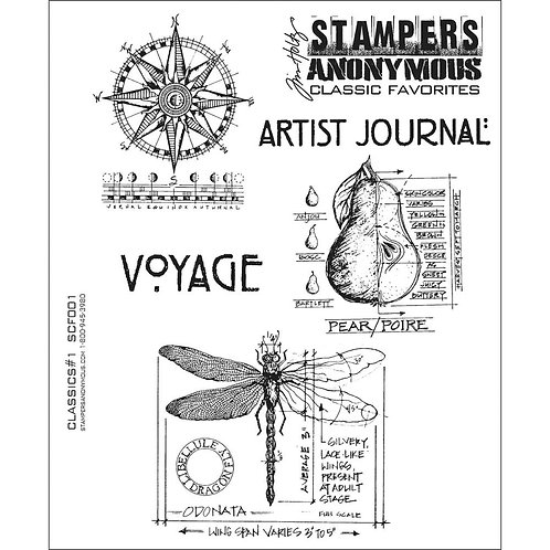 """Classics #1"" Tim Holtz Cling Stamps 7""X8.5"" by Stampers Anonymous"