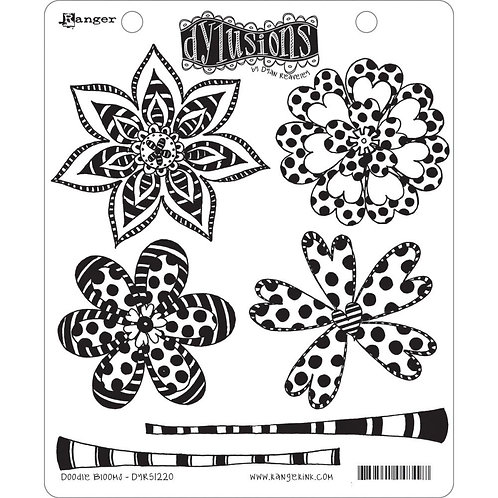 """Dyan Reaveley's Dylusions Cling Stamp  8.5""""X7"""" """"Doodle Blooms"""""""