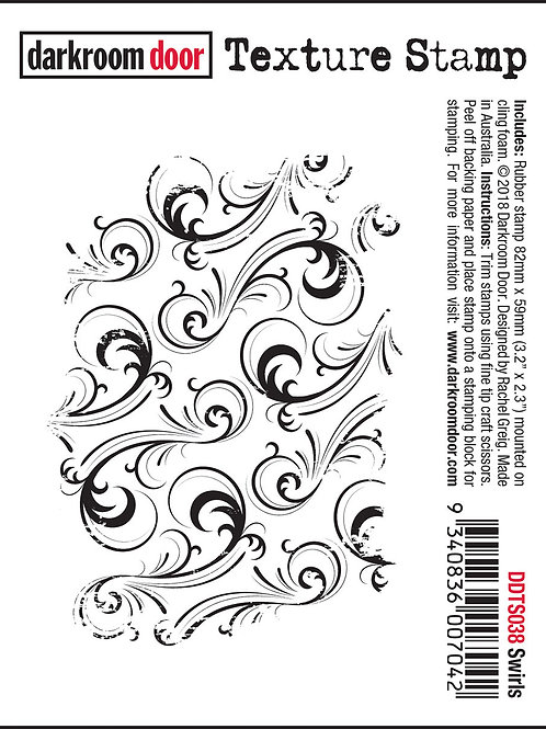"Darkroom Door - ""Swirls"" Texture Rubber Stamp"