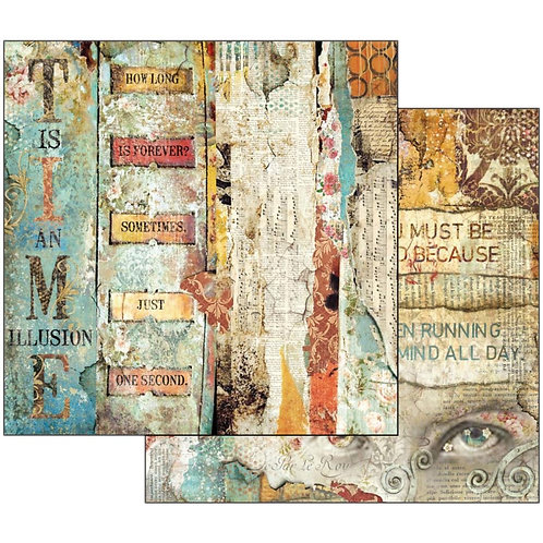 """Stamperia 12"""" x12"""" Paper  """"Time Is An Illusion Little Labels """" 1 Piece"""