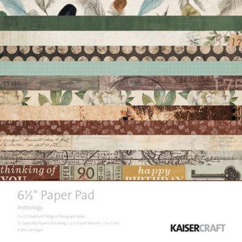 """Kaisercraft  6.5""""x 6.5"""" Paper Pad 24 pages """"Anthology"""""""