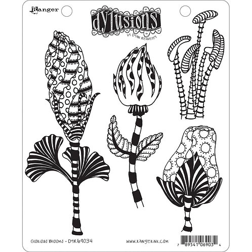 """Dyan Reaveley's Dylusions Cling Stamp  8.5""""X7""""Glorious Blooms"""""""