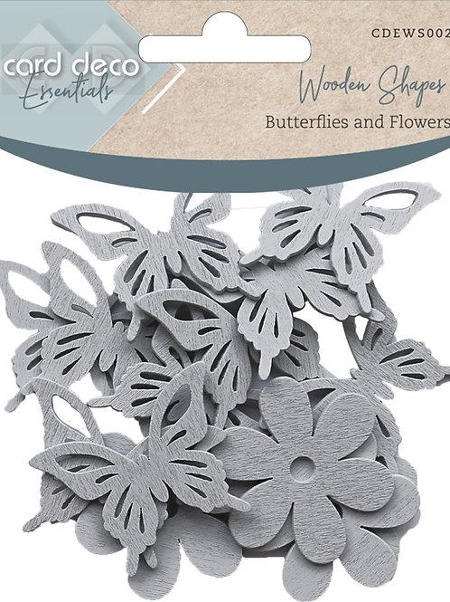 Card Deco Wooden Shapes Butterflies & Flowers