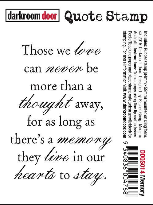 """Darkroom Door - """"Memory"""" Quote Rubber Stamp"""