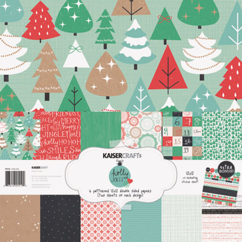 "Kaisercraft Christmas 12x12 Paper Pack with Bonus Sticker Sheet ""Holly Jolly """