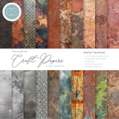 "Craft Consortium Paper Pad 6 x 6in -40 sheets - ""Metal Textures"