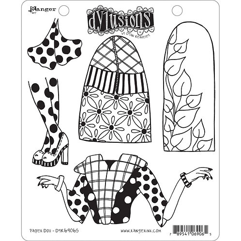 "Dyan Reaveley's Dylusions Cling Stamp  8.5""X7""Paper Doll"""
