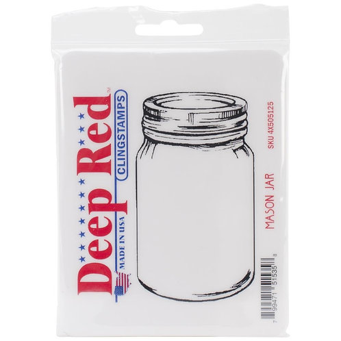 DEEP RED STAMPS-Cling Stamp - Mason Jar..