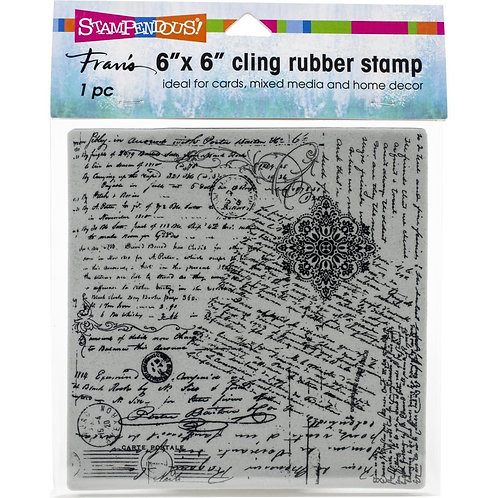 """Posted Script"" 6""x6"" Background Stampendous Cling Mount Rubber Stamps"