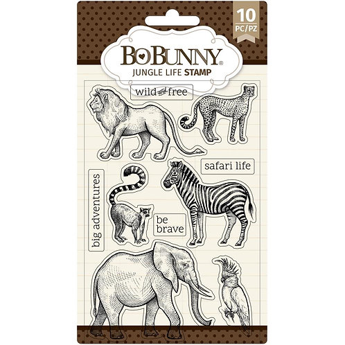 """BoBunny Clear Stamps 4""""X6"""" Jungle Life"""