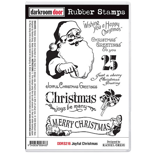 """Darkroom Door - """"Joyful Christmas"""" Cling Rubber Stamp"""