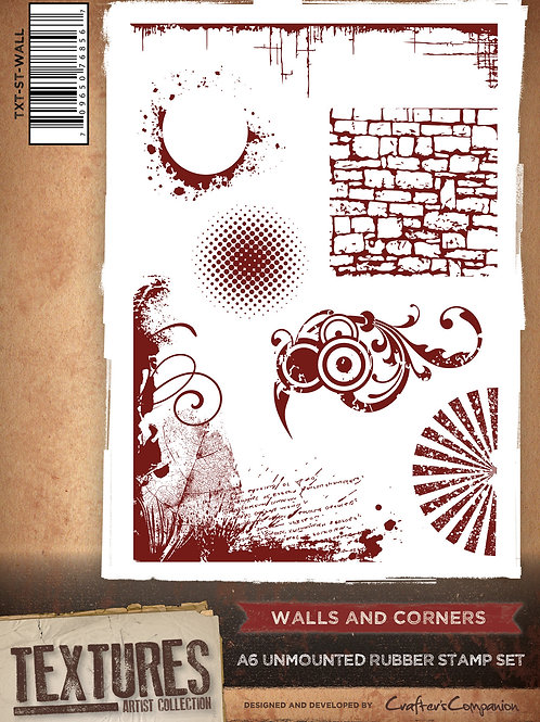 """Walls & Corners"" Crafters Companion Unmounted Rubber Stamps"