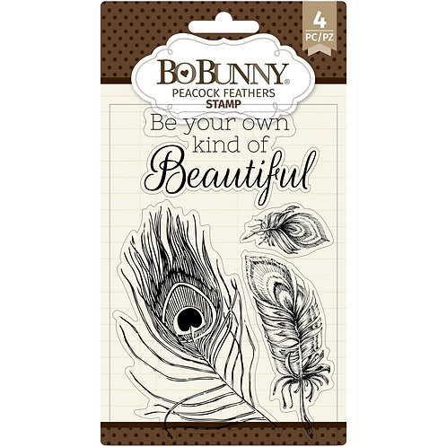"""BoBunny Clear Stamps 4""""X6"""" Peacock"""