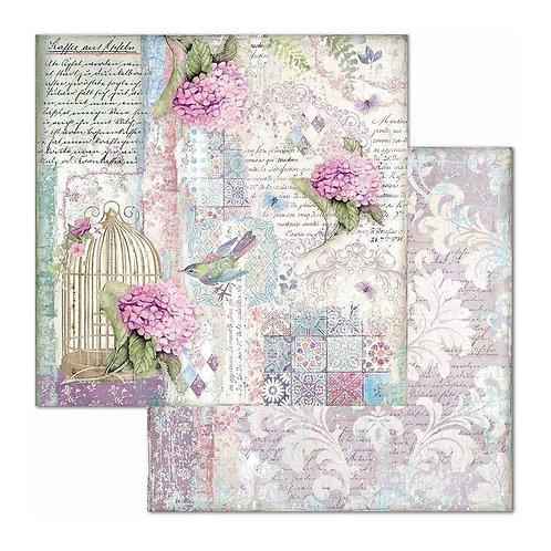 "Cage & Birds, Hortensia Princess Stamperia 12"" x12"" Paper   1"