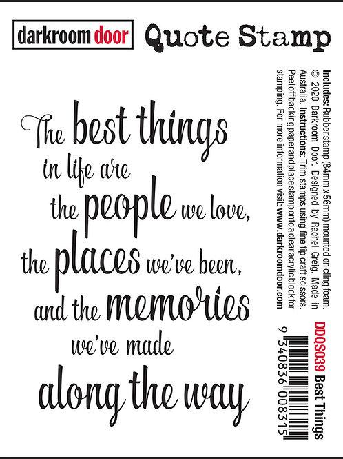"""Darkroom Door - """"Best Things"""" Quote Rubber Stamp"""