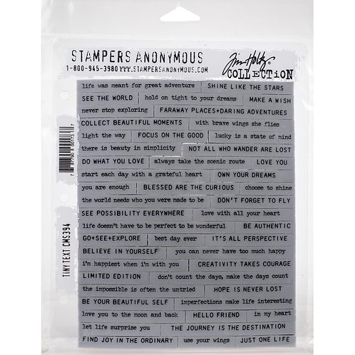 """Tiny Text"" Tim Holtz Cling Stamps 7""X8.5"" by Stampers Anonymous"