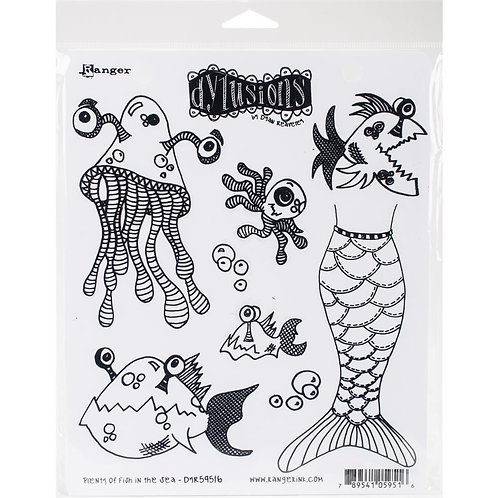 "Dylusions ""Plenty of Fish in the Sea"" Cling Rubber Stamps"