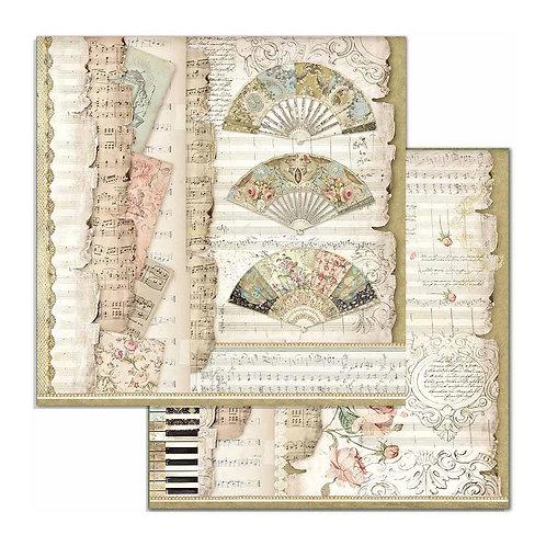 "Fans & Music, Princess Stamperia 12"" x12"" Paper   1 Piece"