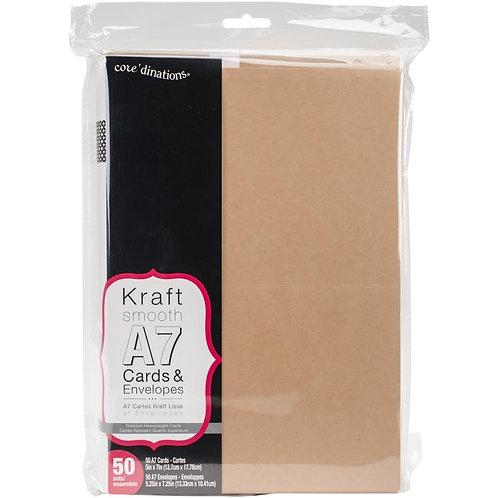 "Darice Heavyweight A7 Cards/Envelopes (5.25""X7.25"") 50/Pkg Kraft"