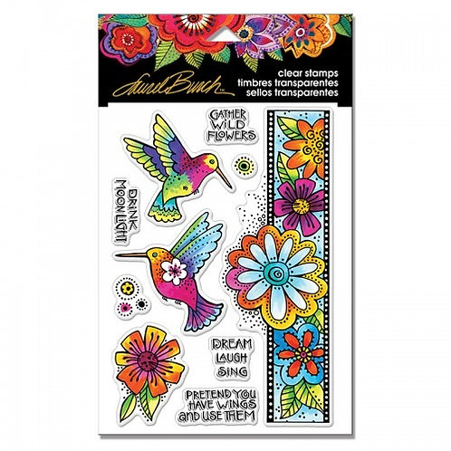 """""""Floral Birds"""" Stampendous Clear Stamps by Laurel Birch 4""""x6"""""""