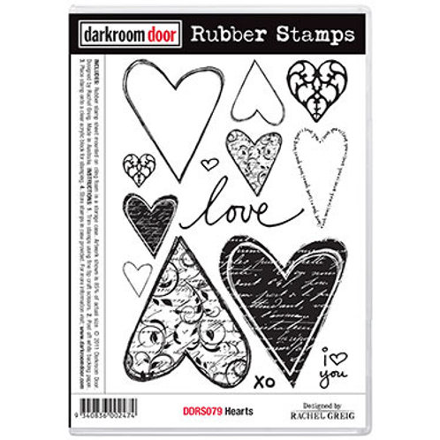 """Darkroom Door - """"Hearts""""  Rubber Stamp"""