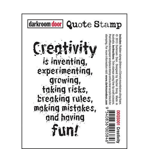 """""""Creativity"""" -Darkroom Door Quote Rubber Stamp"""
