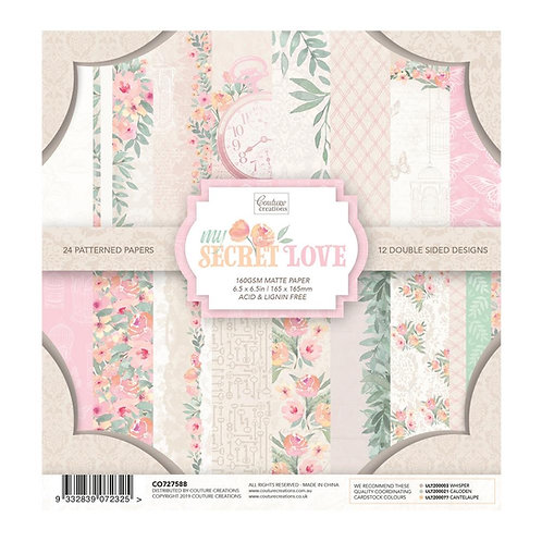 Coouture Creations Paper Pad 6.5 x 6.5in -24 sheets - My Secret Love