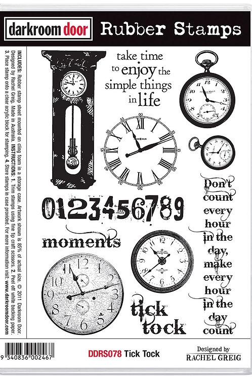 "Darkroom Door - ""Tick Tock"" Cling Rubber Stamp"