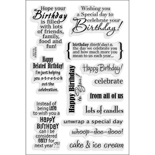 """Birthday Wishes"" Stampendous Clear Stamps by Laurel Birch 4""x6"""