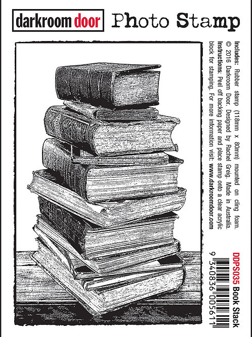 "Darkroom Door - ""Book Stack"" Photo Rubber Stamp"