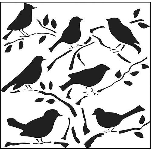 """TCW 12x12 Stencil """"Birds"""""""