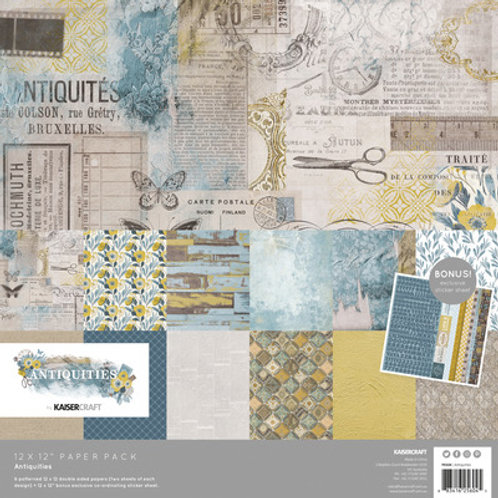 "Kaisercraft 12x12 Paper Pack with Bonus Sticker Sheet ""Antiques"""