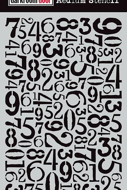 """Darkroom Door Medium Stencil - 9x6 """"Number Jumble"""""""