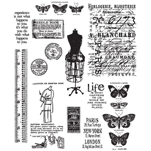 """""""Attic Treasures"""" Tim Holtz Cling Stamps 7""""X8.5"""" by Stampers Anonymous"""