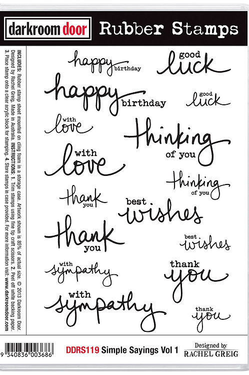 "Darkroom Door - ""Simple Sayings Vol 1""  Cling Rubber Stamp"