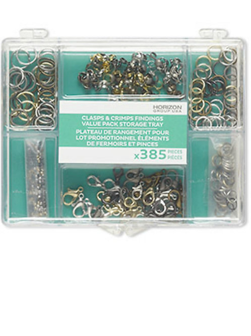 "Clasp and jump ring set, multi-finished ""Pewter"" alloy & Steel. 385 piece set"