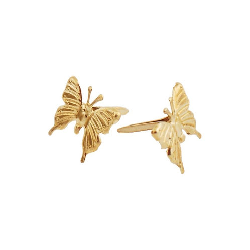 Gold Butterfly Creative Impressions Metal Paper Brad Fasteners 25/Pkg