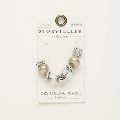 """Bead mix, acrylic pearl and silver-finished """"pewter"""" 9 Pcs"""