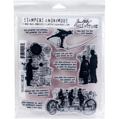 """""""Theories"""" Tim Holtz Cling Stamps 7""""X8.5"""" by Stampers Anony"""