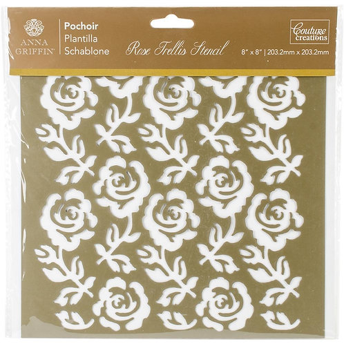 "Couture Creations Rose Trellis Stencil 8""X8"""