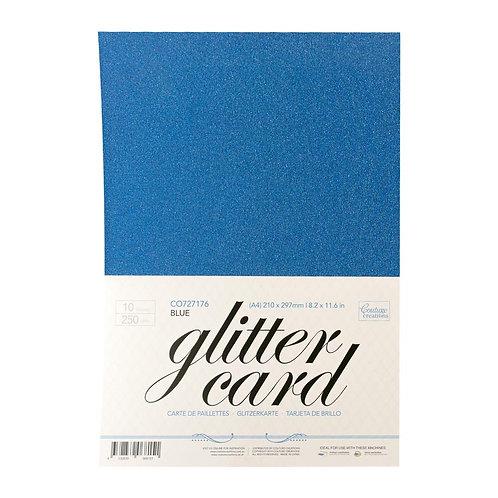 Glitter Card - Blue  A4 - 250gsm (10 sheets per pack)