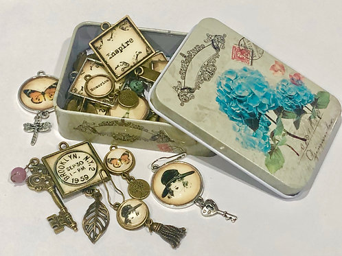Antique Mini Trinket Tin Blue Flower