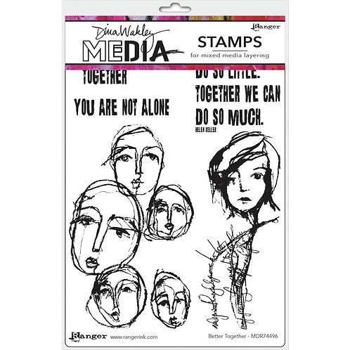 """Dina Wakley Media Cling Rubber Stamps """"Better Together"""""""