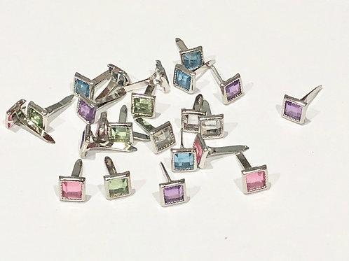 Square Mixed Colour Rhinestone Brads 8mm 24pc Pack